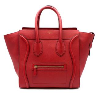 Celine Red Medium Luggage Tote