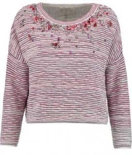 Maje Rhinestone Embellished Stripe Jacquard Jumper/Sweater