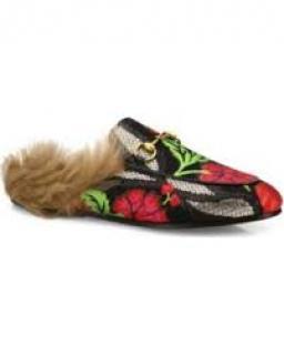 Gucci Floral Brocade Fur Mules