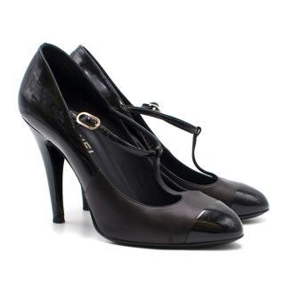Chanel Black Patent Leather T-Strap Sandals