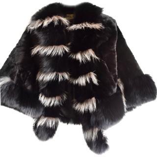 Luohder shearling mink fox trim cape jacket