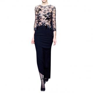 Diane Von Furstenberg Bird Embellished Lace Bodice Gown