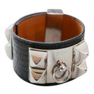 Hermes Collier De Chien Black Alligator Cuff Bracelet