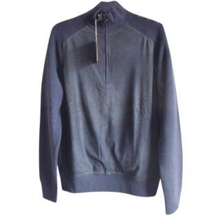 Loro Piana suede cashmere half-zip sweater