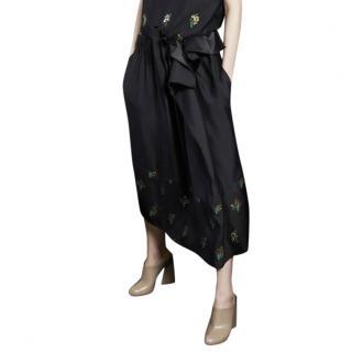 Stella McCartney Floral Embossed Hem Draped Midi Skirt