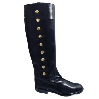 Chanel Leather CC Logo Boots