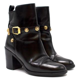Versace Medusa Head Buckle Black Ankle Boots