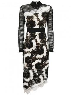 Self Portrait Black & White Mixed Lace Asymmetric Midi Dress