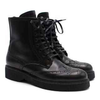 Prada Brogue Style Black Ankle Boots