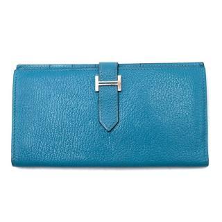 Hermes Turquoise Tri-fold Bearn Wallet