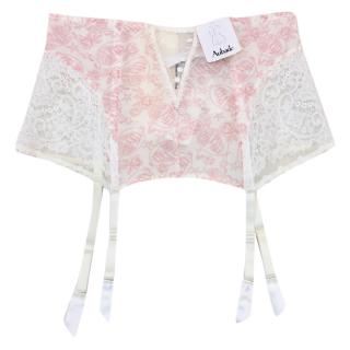 Aubade Leavers Lace Rose Waist Cincher Suspender Belt