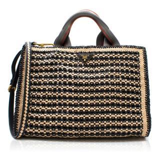 Prada Woven Goatskin Leather Madras Tote Bag