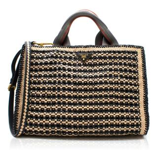 Prada Woven Goatskin Leather Madras Tote Bag
