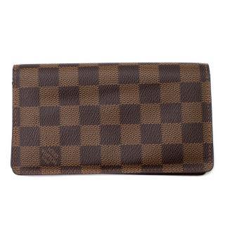 Louis Vuitton Damier Ebene Canvas Leather Long Wallet