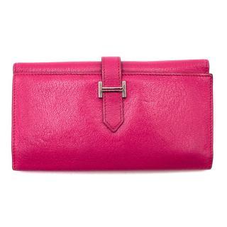 Hermes Tri-fold Pink Bearn Wallet