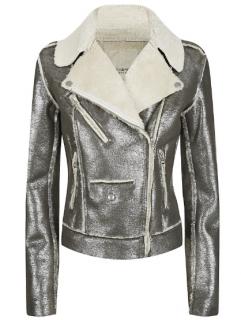 DENIM & SUPPLY RALPH LAUREN Grey Metallic Faux Leather Biker Jacket
