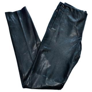 Bottega Veneta black leather trousers