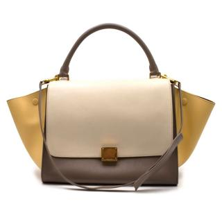 Celine Beige Extra Large Tricolour Trapeze Bag