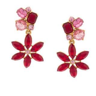 Oscar De La Renta Red Crystal Flower Drop Earrings