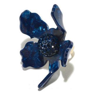 Lele Sadoughi Navy Crystal Lily Flower Ring