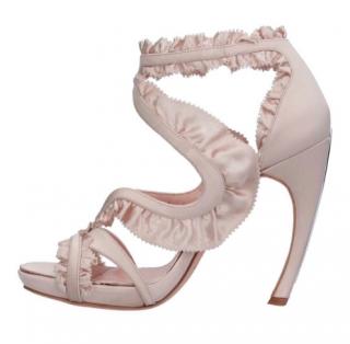 Alexandr McQueen Ruffled Satin Platform Sandals