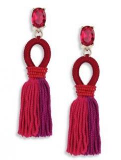 Oscar De La Renta Short Gradient Silk Tassel Earrings