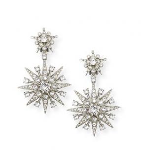 Oscar de la Renta Crystal Star Drop Stud Earrings