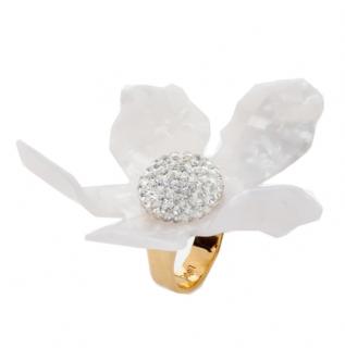 Lele Sadoughi White Crystal Lilly Flower Ring