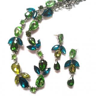 Oscar De La Renta Green & Navy Crystal Necklace Set