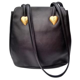 Yves Saint Laurent Vintage Black Leather Shoulder Bag.