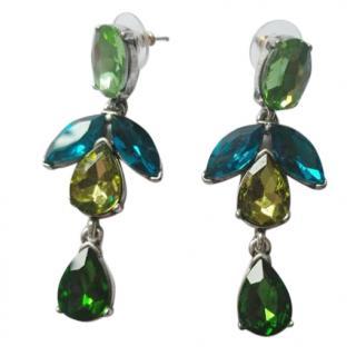Oscar De La Renta Blue and Green Crystal Drop Earrings