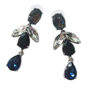 Oscar De La Renta Blue Crystal Drop Earrings
