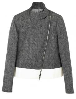 Joseph tweed asymmetrical zip cropped jacket