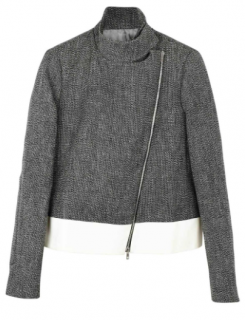 Joseph tweed asymmetrical zip cropped jacket