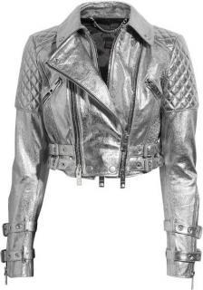 Burberry Prorsum Metallica silver leather biker jacket