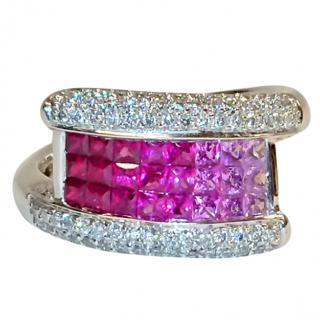 Bespoke Pink Sapphire & Diamond Ring 18ct Gold 1.50ct