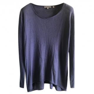 Vince Blue Wool And Silk Thin Knit Jumper