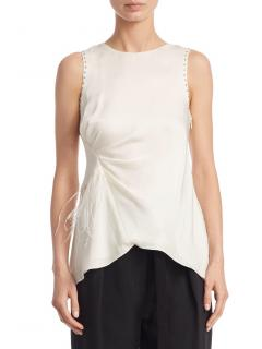 3.1 Phillip Lim Women's White Feather-trimmed Silk Tank Top US8/UK12