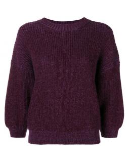 3.1 Phillip Lim Women's Aubergine Puff Sleeve Rib Knit Sweater Jumper