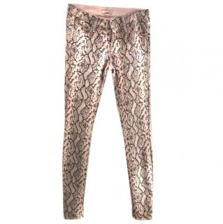 Mother pale pink lizard print jeans