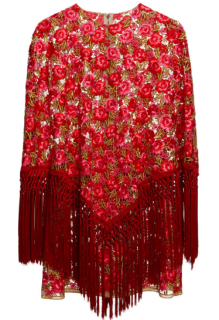 Dolce & Gabbana Catwalk Layered Carnation Poncho Dress