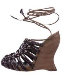 Bottega Veneta Patent Leather Lace-up Sandals