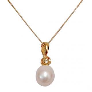 Akoya Pearl & Diamond Pendant Necklace