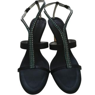 Giuseppe Zanotti navy satin and turquoise crystal sandals