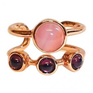 Eshvi Astro Rose Gold Amethyst Cabouchon Midi Ring