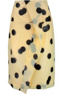 Marc Jacobs yellow black polkadot wrap skirt