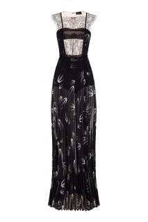 Elisabetta Franchi Black Wheat Print and Lace Sheer Gown