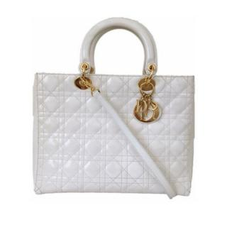 Christian Dior Large White Lady Dior Bag