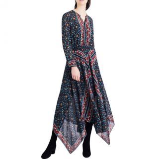 Maje Roeme Imprime Floral Chiffon Hankercheif Hem Maxi Dress