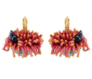 Les Nereides Pink & Blue Sea Anemone & Blue Fish Hook Earrings